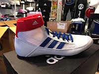 Борцовки Adidas Havoc. Бело-синего цвета. Обувь для борьбы Адидас