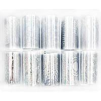 Набор широкой фольги для дизайна ногтей 50 см 10 шт Серебряные узоры