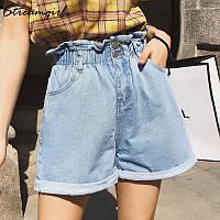 Шорты женские джинсовые с высокой талией  paperbag. Шортики летние из денима с высокой посадкой (голубые)