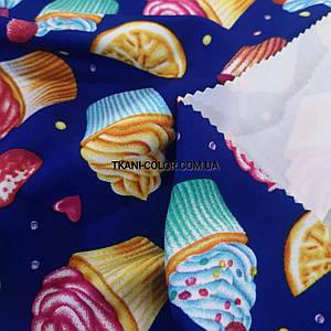 Трикотаж дайвінг принт тістечка на синьому