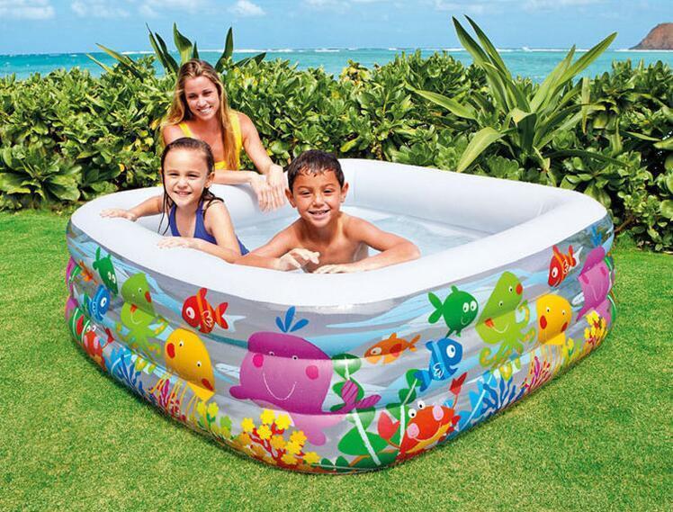 Бассейн детский надувной «Аквариум» Intex с прозрачными вставками (57471), 3 кольца, 424 литра, 159-159-50 см