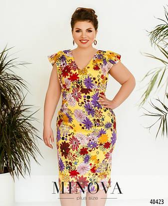 Платье женское летнее большой размер №514А-желтый| 50|52|54р., фото 2