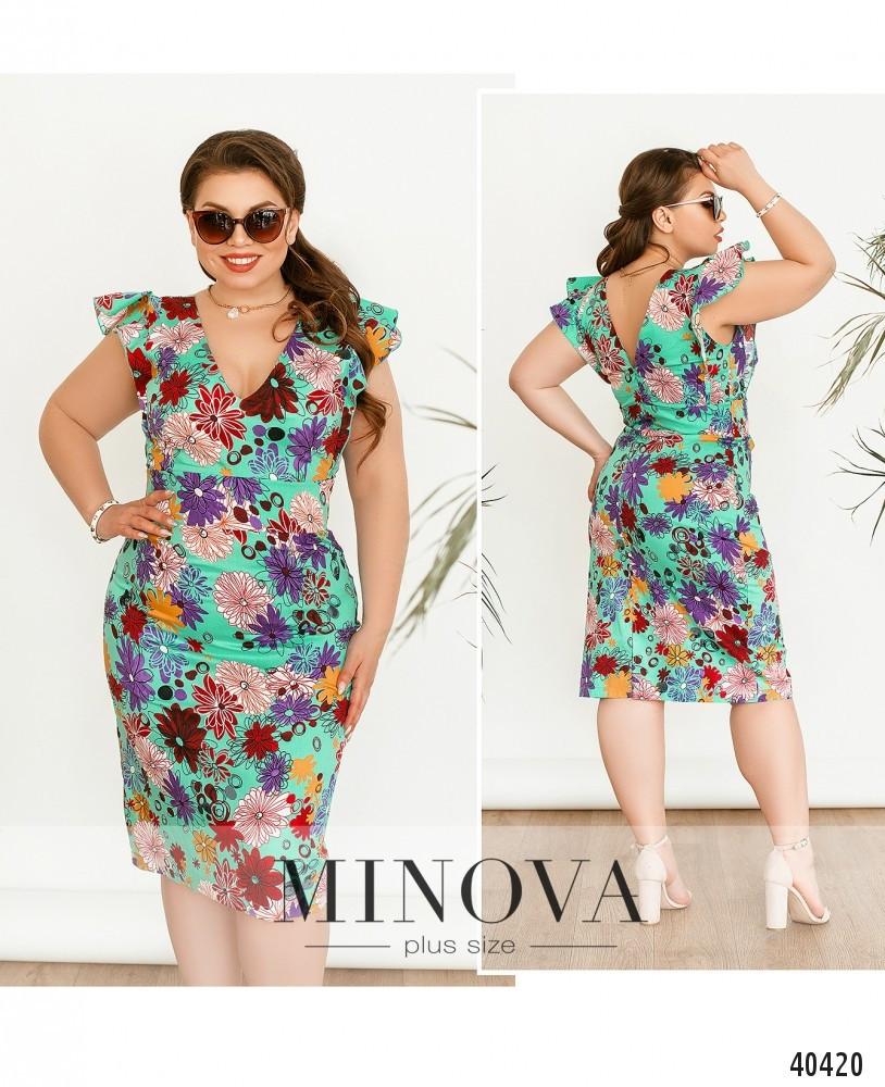 Платье женское летнее большой размер №514А-мята| 50|52|54р.
