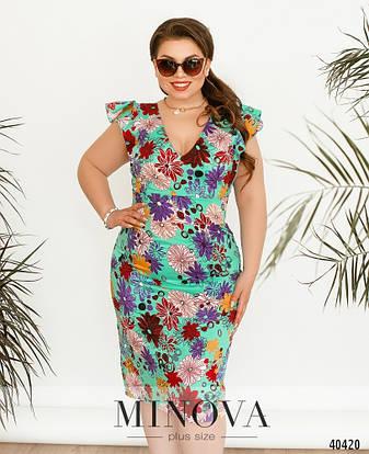 Платье женское летнее большой размер №514А-мята| 50|52|54р., фото 2