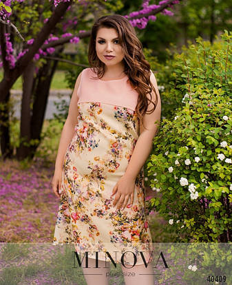 Платье женское летнее большой размер №275-Желтый| 50|52|54|56|58|60р., фото 2