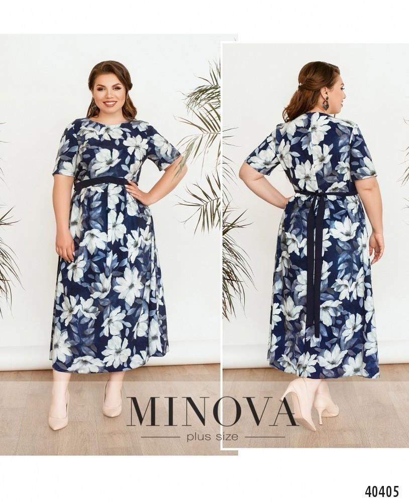 Платье женское летнее большой размер №17-221-Синий  52 54 56 58 60 62р.
