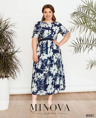 Платье женское летнее большой размер №17-221-Синий  52 54 56 58 60 62р., фото 2