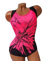 Купальник женский слитный большие размеры 50 - 60 Ruta черный с принтом розовый