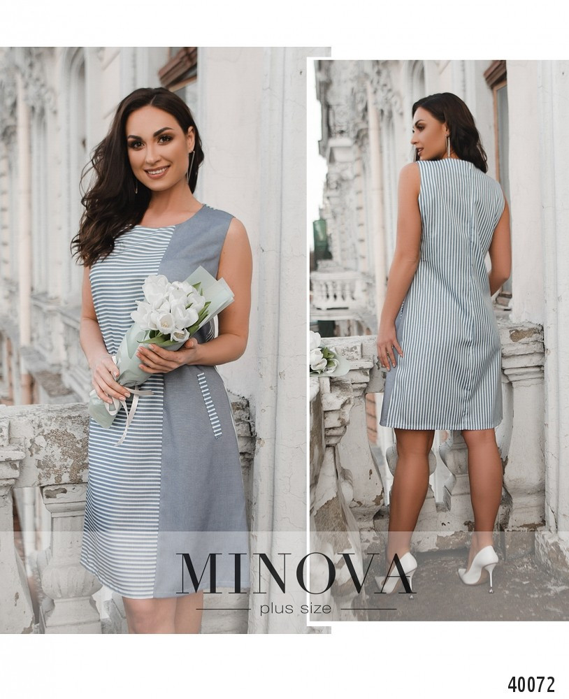 Платье женское летнее большой размер №262Б-синий| 50|52|54|56|58|60р.
