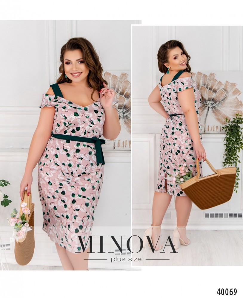 Платье женское летнее большой размер №17-206-розовый-зеленый| 48|50|52|54р.