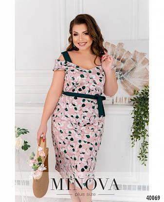 Платье женское летнее большой размер №17-206-розовый-зеленый| 48|50|52|54р., фото 2