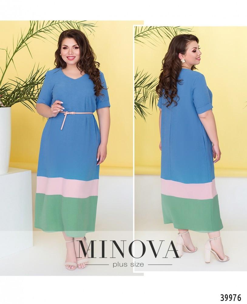 Платье женское летнее большой размер №4182-1-джинс| 50-52|54-56|58-60|62-64р.