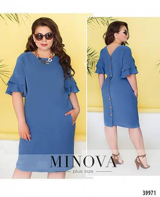Платье женское летнее большой размер №18340-1-джинс| 50|52|54|56р., фото 2