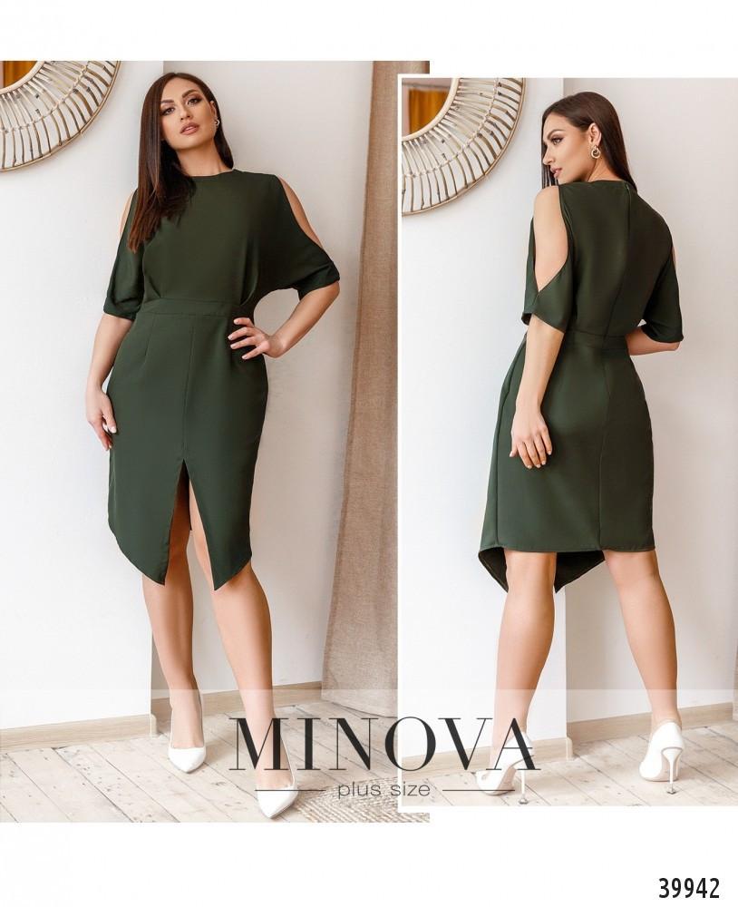 Платье женское летнее большой размер №763Б-хаки  48-50 52-54 56-58р.