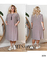 Платье женское летнее большой размер №169-1-бордо  54-56 58-60 62-64 66-68р.