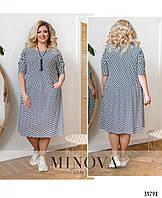 Платье женское летнее большой размер №169-1-темно-синий| 54-56|58-60|62-64|66-68р.