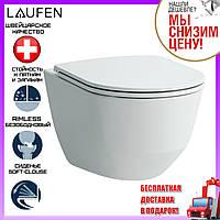 Подвесной унитаз безободковый Laufen Pro Rimless H8669570000001 с сидением микролифт Soft-Close