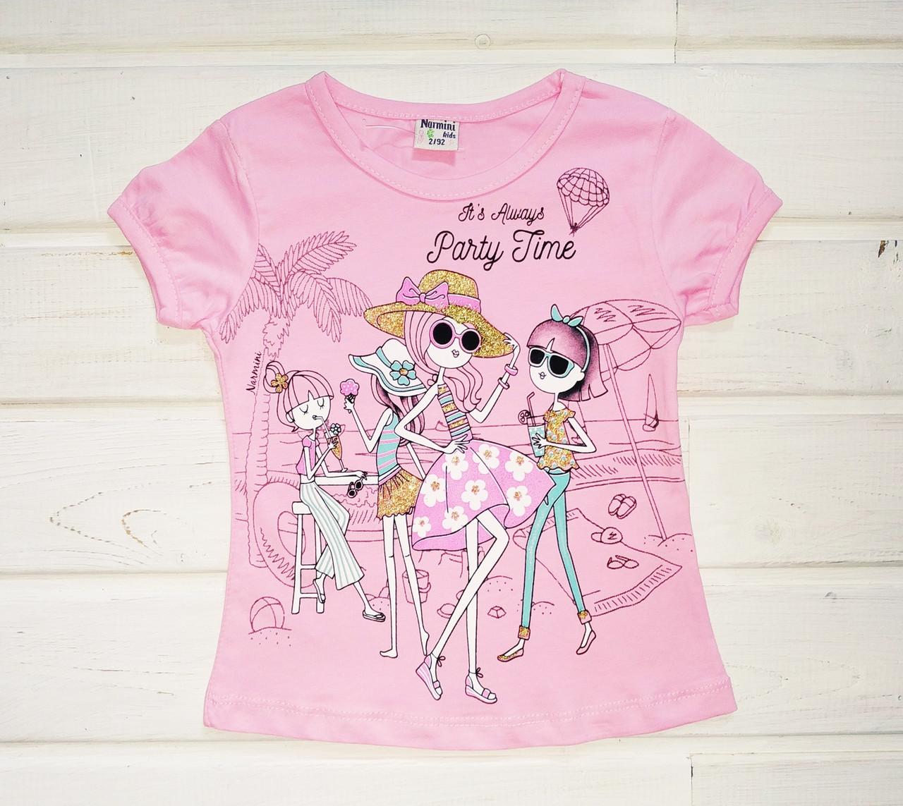 Футболка для девочки розовая Размеры 92 104 122