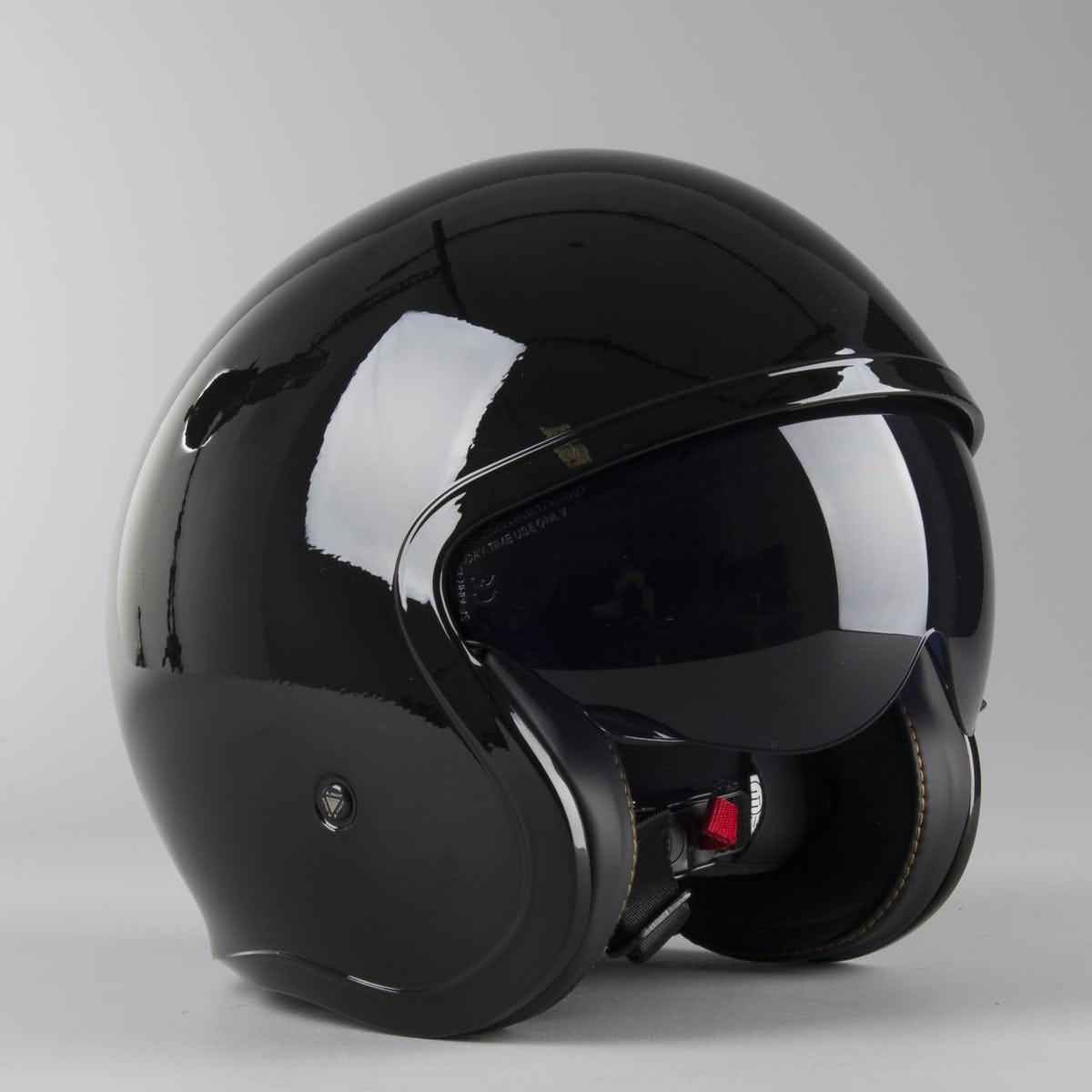 Мотошлем LS2 OF599  Gloss black  Черный глянцевый  полулецевик с очками