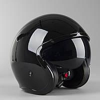 Мотошолом LS2 OF599 Gloss black Чорний глянсовий полулецевик з окулярами, фото 1