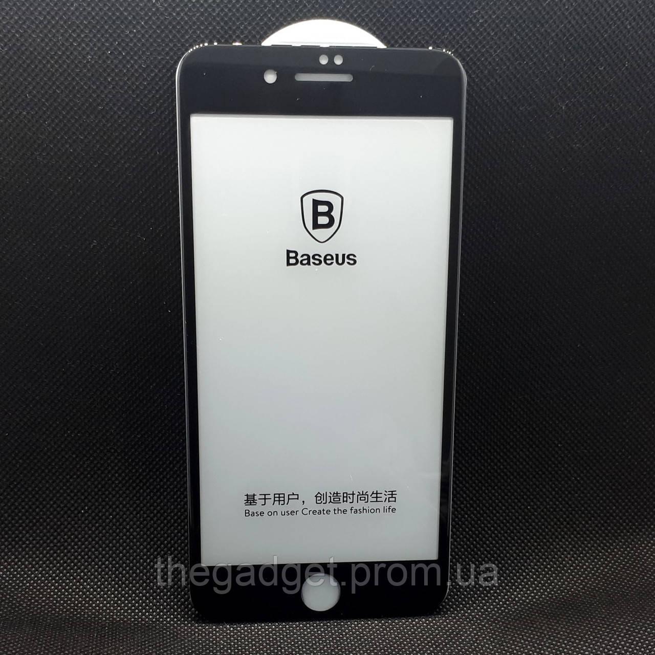Защитное стекло для Apple iPhone 7/8 Plus Baseus Черное с полной проклейкой