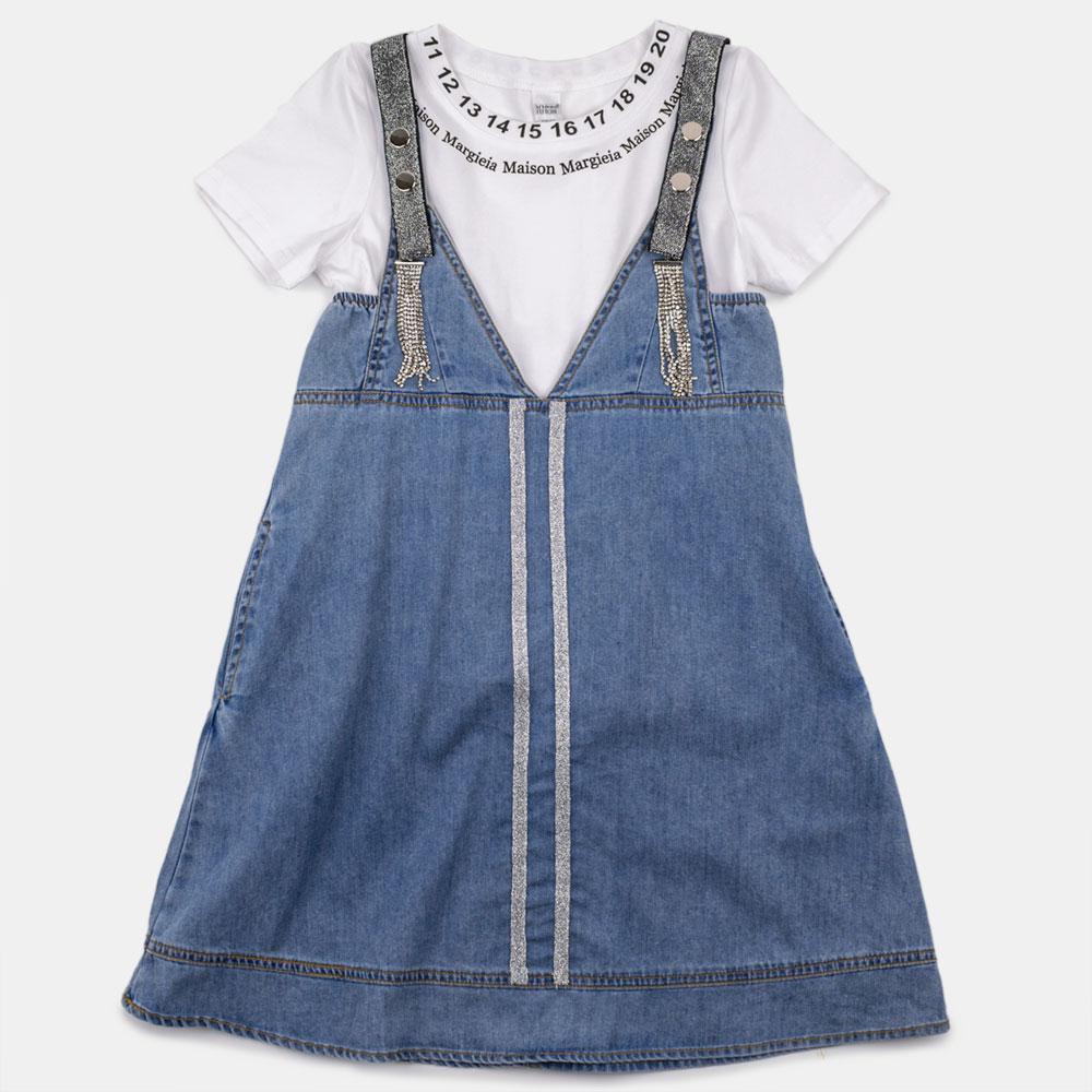 Комплект (футболка, сарафан) для девочек Mimcar 150  джинс, белый 2001113