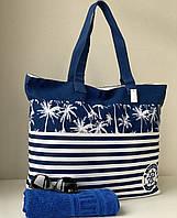 Пляжная сумка шоппер коттоновая летняя вместительная в сине-белую полоску