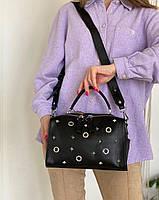 Жіноча шкіряна сумка бочонок через плече Polina & Eiterou, фото 3