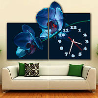 Фигурные Часы картина модульная Синяя орхидея 30x38 30x43 см