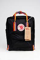 Рюкзак Fjallraven Kanken Classic Rainbow 16л Топ якість чорний з райдужними ручками( тканина)