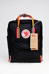 Рюкзак  Fjallraven Kanken Classic Rainbow 16л  Топ качество  черный с радужными ручками( ткань)