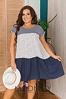 Платье летнее в горох 05228 БАТАЛ