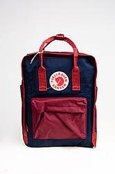 Модный рюкзак Fjallraven Kanken Classic 16 л с тканевой подкладкой, синий с красным