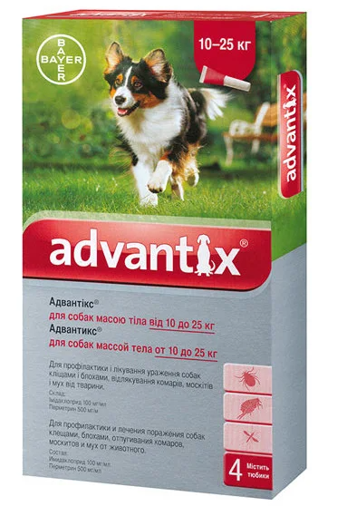 Bayer Advantix для собак вес 10-25 кг 1пипетка 2,5мл