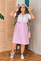 Стильное летнее платье 05223.1 БАТАЛ (Цвет: розовый, синий, голубой, белый)