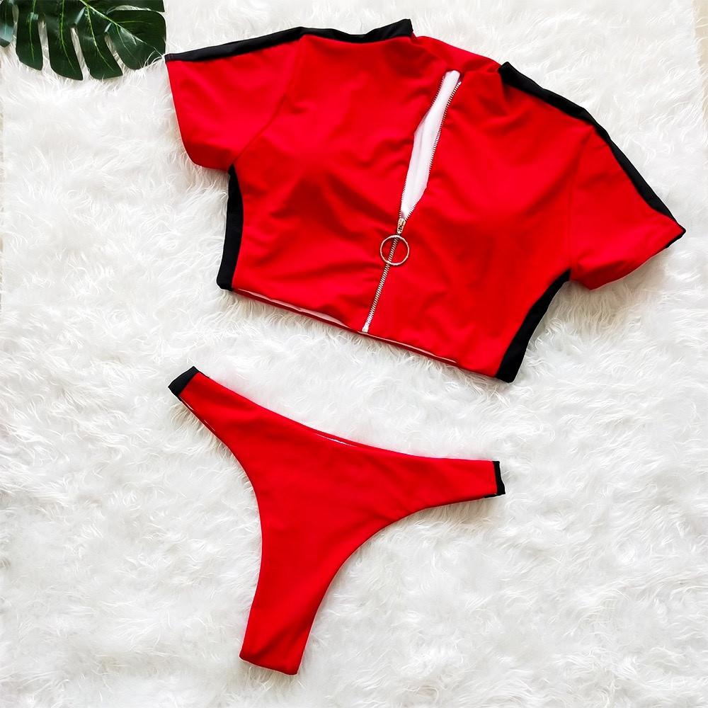 Спортивний червоний купальник з топиком на блискавці + стрінги лампаси S, M
