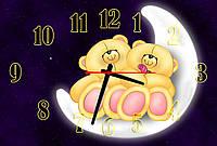 Часы настенные в детскую комнату Мишки на луне, 30х45 см