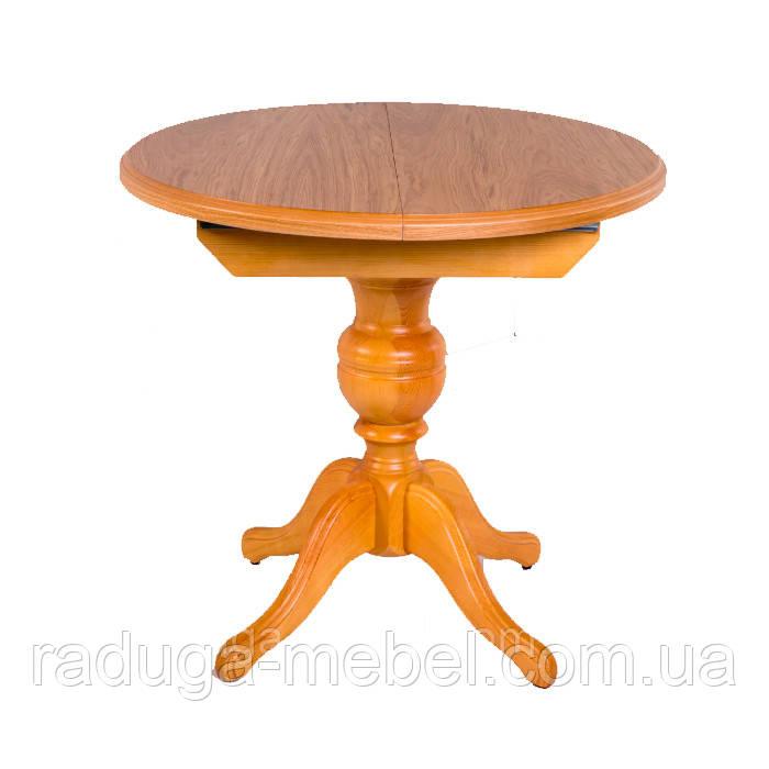Стіл дерев'яний круглий розкладний на одній ніжці, кухонний, обідній АНЖЕЛІКА (натуральний)