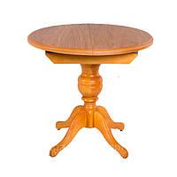 Стіл дерев'яний круглий розкладний на одній ніжці, кухонний, обідній АНЖЕЛІКА (натуральний), фото 1