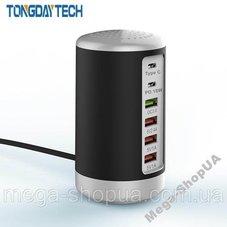Сетевое зарядное устройство адаптер 6 port 65W PD Type C Quick Charger. Зарядная док-станция для телефона K3B