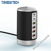Сетевое зарядное устройство адаптер 6 port 65W PD Type C Quick Charger. Зарядная док-станция для телефона K3B, фото 1