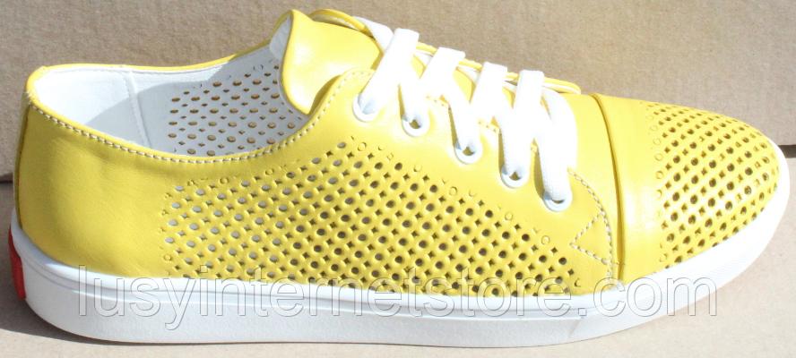 Кроссовки желтые женские кожаные от производителя модель АНЖ308