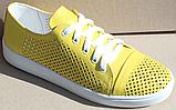 Кроссовки желтые женские кожаные от производителя модель АНЖ308, фото 2