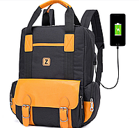 Городской рюкзак ранец черный оранжевый с карманом для ноутбука текстиль непромокаемый с USB тканевый унисекс