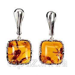 Серьги серебряные 925 натуральный оранжевый янтарь .