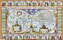 Старинная морская карта 82см х 52см с подрамником