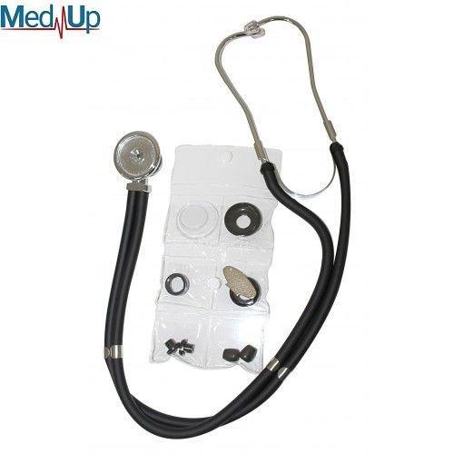 Стетофонендоскоп із головкою типу рапопорт срібного кольору