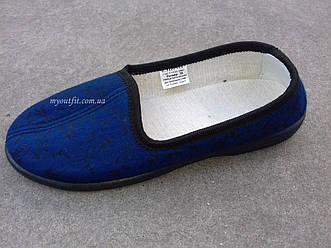 Женские домашние туфли Синие Текстильные Размеры 35-42