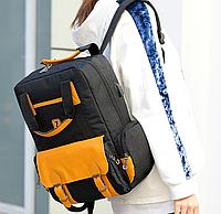 Рюкзак городской черный объемный непромокаемый сумка с карманом для ноутбука унисекс с USB для зарядки