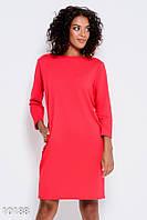 Красное трикотажное платье с длинными рукавами и карманами